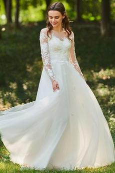 Robe de mariée Col Bateau Été A-ligne Norme Longueur de plancher