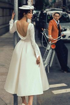 Robe de mariage Naturel taille Drapé Manche de T-shirt Longueur Mollet