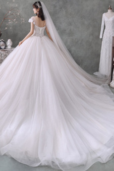 Robe de mariée Manche Courte aligne Cérémonial gossamer Salle