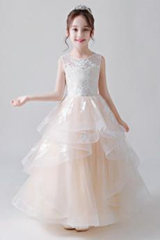 Robe de fille de fleur Satin Multi Couche a ligne Mariage Été