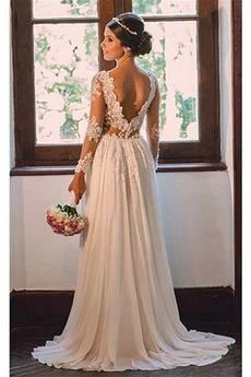 Robe de mariée A-ligne Manche Longue Sexy Longue Perspectif Naturel taille