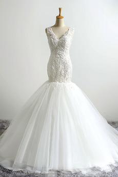 Robe de mariée Laçage Traîne Courte Formelle Décalcomanie Taille chute