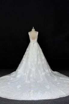 Robe de mariée Satin a ligne Printemps Traîne Longue Manquant