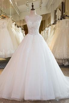 Robe de mariée Col rond Manquant Sans Manches Longue Eglise Luxueux