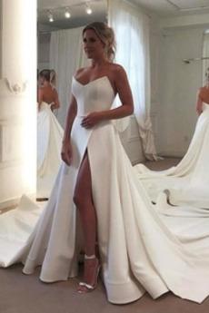 Robe de mariée Simple A-ligne Norme Naturel taille Automne Satin