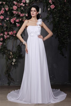 Robe de mariée Printemps Sommaire Orné de Rosette Norme Chiffon