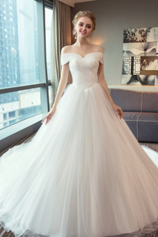 Robe de mariée Laçage Longue Elégant Manche Courte Rosée épaule