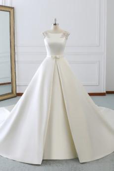 Robe de mariée Col Bateau Lacez vers le haut Train de balayage