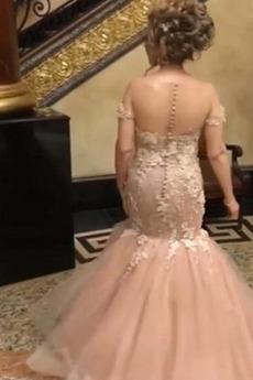 Robe de bal Rosée épaule Norme Couvert de Dentelle Montrer Elégant