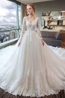 Robe de mariée Été net Col en V Formelle A-ligne Chapelle Naturel taille