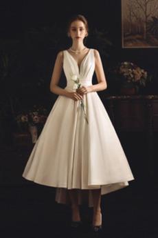 Robe de mariée Asymétrique Triangle Inversé Sans Manches Rivage