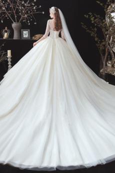 Robe de mariage Poire Col en V Col en V Foncé Drapé net Traîne Longue