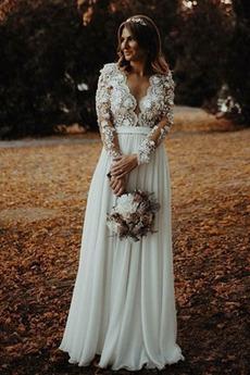 Robe de mariage Elégant Perspectif A-ligne De plein air Drapé