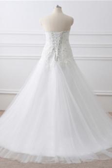 Robe de mariage Printemps Perle aligne Satin Salle Col en Cœur