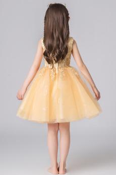 Robe de fille de fleur Naturel taille Mariage net Longueur de genou