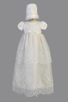 Robe de fille de fleur Chapeau Organza Naturel taille Blanc Petit collier circulaire