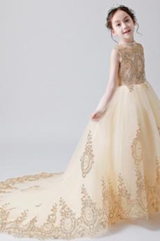 Robe de fille de fleur Mariage Tulle Manche Longue Ancien Printemps