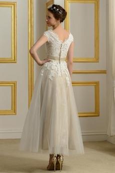 Robe de mariée Naturel taille Bouton Longueur Mollet Manche Aérienne