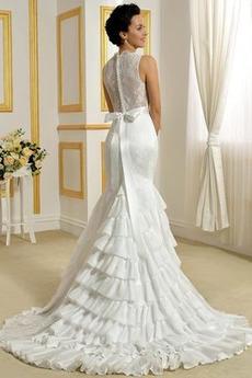 Robe de mariée Haute Couvert Été Larges Bretelles Chic Longue