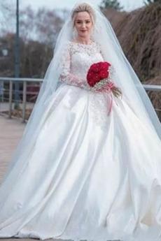 Robe de mariée Satin Salle Manche Aérienne Un Costume Naturel taille