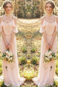 Robe de demoiselle d'honneur Chiffon Sans Manches Naturel taille