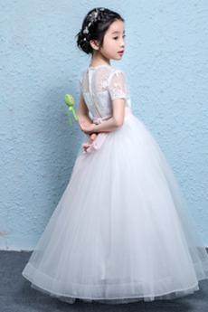 Robe de fille de fleur Tulle Montrer Fermeture éclair Orné de Nœud à Boucle