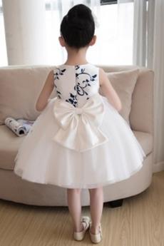 Robe de fille de fleur aligne Satin Printemps Longueur de genou