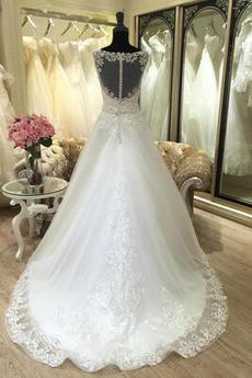 Robe de mariée Appliquer Satin Col Bateau Printemps Formelle