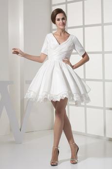 Robe de mariée Courte Haute Couvert Col en V Foncé Naturel taille