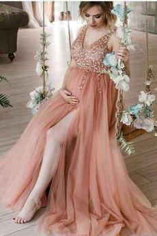 Robe de soirée Printemps Grossesse Longue Taille haute Fermeture à glissière