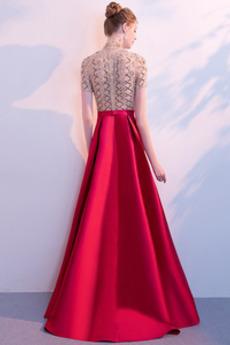 Robe de bal Fête Naturel taille Satin Perlé Scintillait Fourreau Avec Bijoux