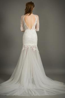 Robe de mariée Sirène Fermeture à glissière Dentelle De plein air