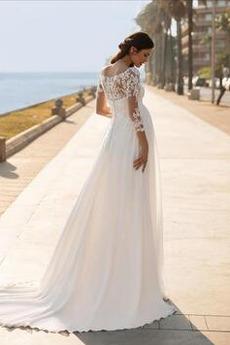Robe de mariée Manche Longue Rosée épaule taille haute Traîne Courte