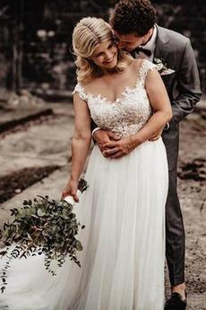Robe de mariage Rosée épaule a ligne Sans Manches Plage Fermeture éclair