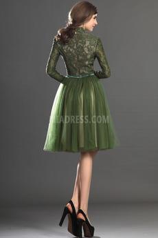 Robe de bal Dentelle Longueur de genou Épaule de la reine Glamour