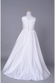 Robe de fille de fleur Corsage plissé Blanche Fermeture à glissière