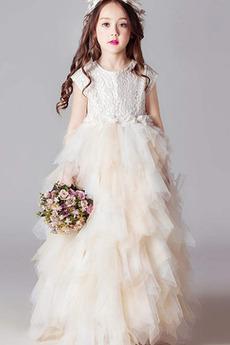 Robe de fille de fleur Gradins Automne Elégant gossamer Petit collier circulaire