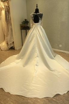 Robe de mariée Dos nu Manquant Cérémonial Manche Demi Col en V