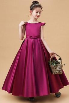 Robe de fille de fleur Elégant Satin Manche Tulipe Col de chemise t