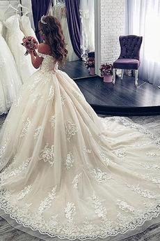 Robe de mariée Manche Courte Luxueux A-ligne Poire Dentelle Dos nu