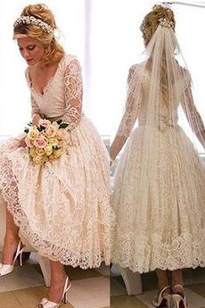 Robe de mariage a ligne Col en V Col en V Foncé Fermeture à glissière