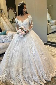 Robe de mariage Manche Aérienne Col en V Glissière Dentelle Cérémonial