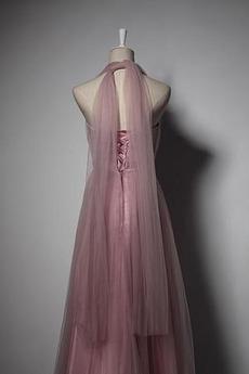 Robe de demoiselle d'honneur Été Rose Sans Manches A-ligne Laçage