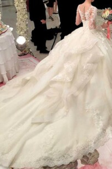 Robe de mariée Fermeture éclair Hiver Soie Dentelle Manquant