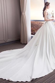 Robe de mariage Satin Nœud à Boucles A-ligne Col Carré Naturel taille