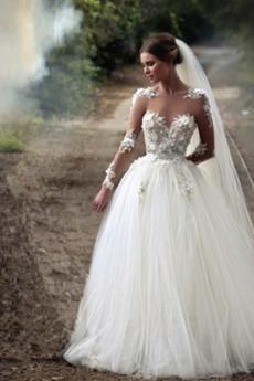 Robe de mariage Longueur de plancher Manche Aérienne Manche Longue