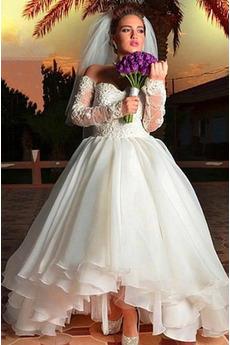Robe de mariage Tulle Rosée épaule Asymétrique Naturel taille