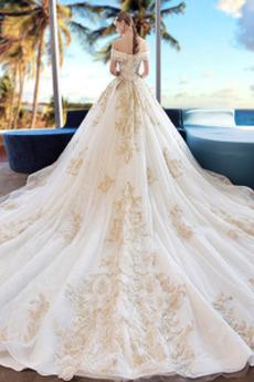 Robe de mariée Manche Courte A-ligne Salle Mancheron Laçage Manquant