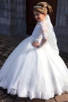 Robe de fille de fleur Tulle a ligne Longue Mariage Col haut