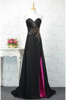 Robe de soirée Noir Mariage A-ligne Étoilé Col en Cœur Automne